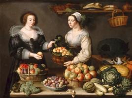 Луиза Муайон. Торговка овощами и фруктами.   1630