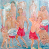 Zakir AHMED Ahmedov. .Turkish bath 2017year 40x40cm Original Painting Oil on Canvas2500$