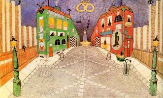 "Mstislav Valerianovich Dobuzhinsky. Street in the city. A sketch of the scenery for the play by p. P. Potemkin ""Parsley"""