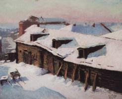 Igor Grabar. Old barn on a frosty day