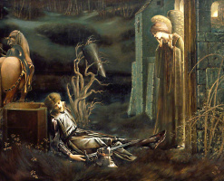 Edward Coley Burne-Jones. Lancelot in the Holy Grail Chapel