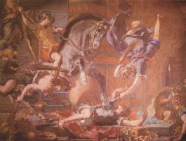 Эжен Делакруа. Церковь св. Сульпиция, капелла св. Ангела, сцена: изгнание Гелиодора из Храма (фрагмент)