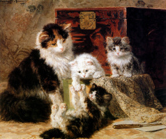 Генриетта Роннер-Книп. Мама-кошка с играющими котятами