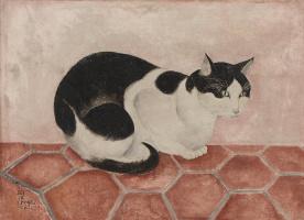Цугухару Фудзита ( Леонар Фужита ). Сидящая кошка
