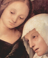 Пьетро Перуджино. Оплакивание Христа, деталь: Мария Магдалина и Мария