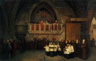 Михаил Петрович Боткин. Вечерня в церкви Св. Франциска в Ассизи