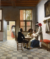Card players in a sunny room