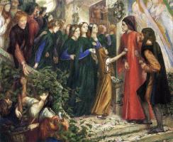 Данте Габриэль Россетти. Встреча Данте и Беатриче на чужой свадьбе