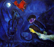 Marc Chagall. Aleko and Zemfira in the light of the moon