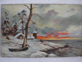Winter landscape with a mill