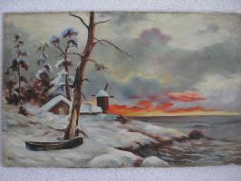 Неизвестный  художник. Зимний пейзаж с мельницей