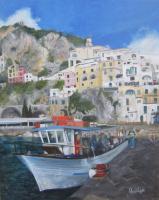 Natalia Emilovna Vodenicharova. Amalfi Italy - oil, Canvas on fibreboard