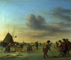 Адриан ван де Вельде. Игроки в гольф на льду возле Гарлем