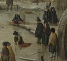 Хендрик Аверкамп. Катание на деревянных коньках (фрагмент)