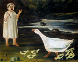 Niko Pirosmani (Pirosmanashvili). A girl and a goose with goslings