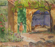 Анри Лебаск. Молодая девушка на веранде в Сен-Тропе