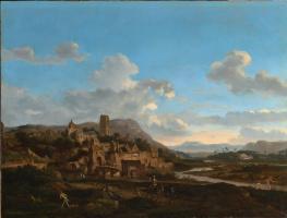 Ян ван дер Хейден. Город на вершине холма у реки