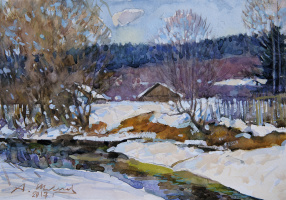 Alexander Shevelev. Melting snow on the banks of the White river. Paper, watercolor, white 20 x 28.5 cm. 2017