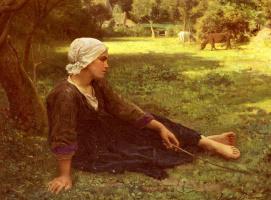 Жюль Бретон. На лужайке