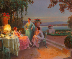 Reading, three elegant ladies on the terrace.