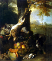 Александр Франсуа Депорт. Натюрморт с битым зайцем и фруктами