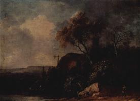 Франц Эдмунд Вайроттер. Пейзаж с хижиной у реки