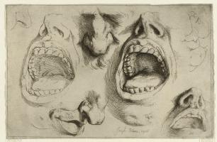 Jose de Ribera. Studies of the Nose and Mouth