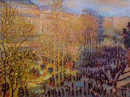 Savely Kamsky. A copy of the Claude Monet painting Boulevard des Capucines in Paris (1873)