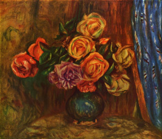 Pierre-Auguste Renoir. Still life. Roses against a blue curtain