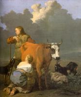 Карел Дюжарден. Женщина доит рыжую корову
