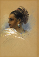 Indian woman in profile