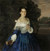 Konstantin Andreevich Somov. The lady in blue. Portrait Of Elizabeth Mikhailovna Martynova