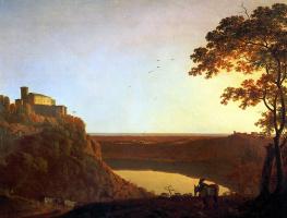 Вид озера Неми на закате