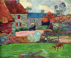 Paul Gauguin. Blue roof Farm, or in Pouldu