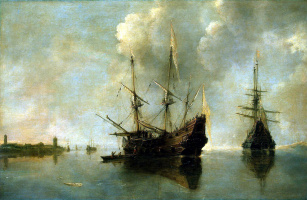 Андрис ван Эртфельт. Два корабля на рейде