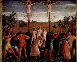 Fra Angelico. The Central altar of saints Cosmas and Damian from the Dominican convent of San Marco in Florence, the Foundation of the triptych, sixth stage: