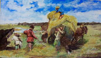 "Дмитрий Юрьевич Буянов. Free picture of K. E. Makovsky ""the harvest and hay time is time"""