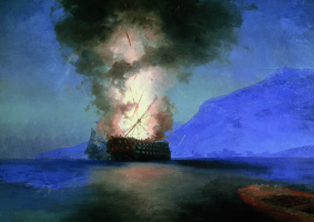 Ivan Aivazovsky. The explosion of the ship