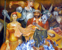 Vladimir (Vladimir) Mikhailovich Ryklin (Ryklin). Don Quixote. Family Portrait in the interior.
