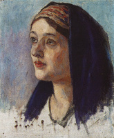 "Vasily Ivanovich Surikov. The Head Of Mary. A sketch for the painting ""the Annunciation"""