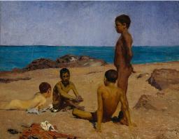 Giovanni Giacometti. Boys on the beach in Torre del Greco, Italy