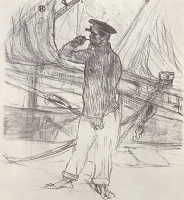 """Henri de Toulouse-Lautrec. Illustration to a poem by Charles CROs """"smoked Herring"""""""