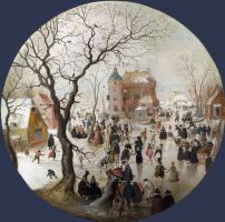 Хендрик Аверкамп. Зимняя сцена с фигуристами возле замка