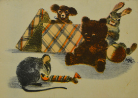 Коллекционные  открытки. Мышка с конфетой