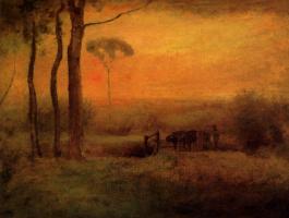 George Inness. Pastoral landscape at sunset