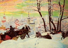 Boris Mikhailovich Kustodiev. Carnival. Fragment