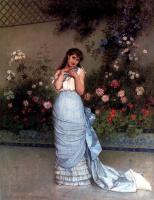Огюст Тоулмоуч. Девушка возле цветов