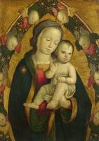 Умбрии или римской Итальянский. Дева с младенцем в Мандорла с херувимами