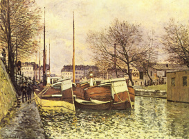 Alfred Sisley. Boats on the canal Saint-Martin in Paris