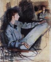 Зинаида Евгеньевна Серебрякова. Автопортрет в синем перед зеркалом